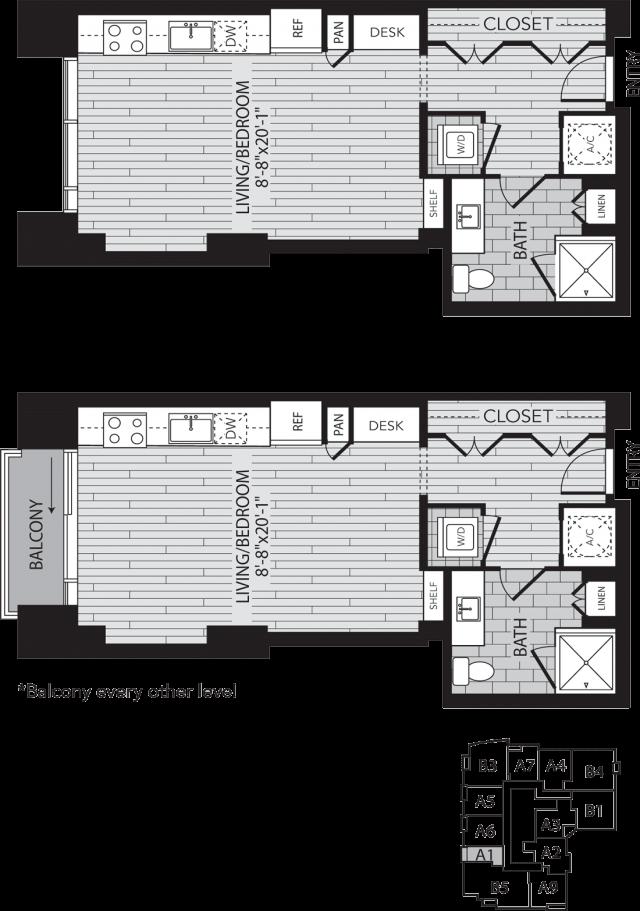 A1 Houston One Bedroom Apartment Floor Plan