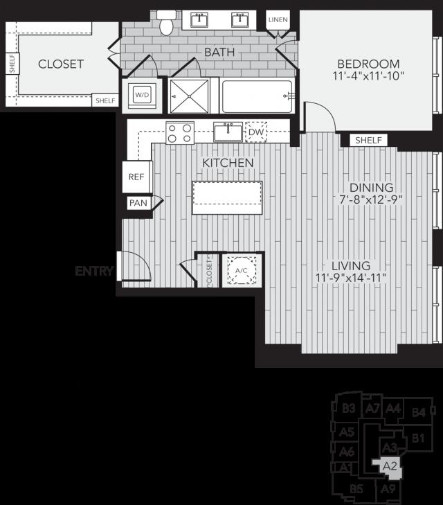 A2 Houston One Bedroom Apartment Floor Plan