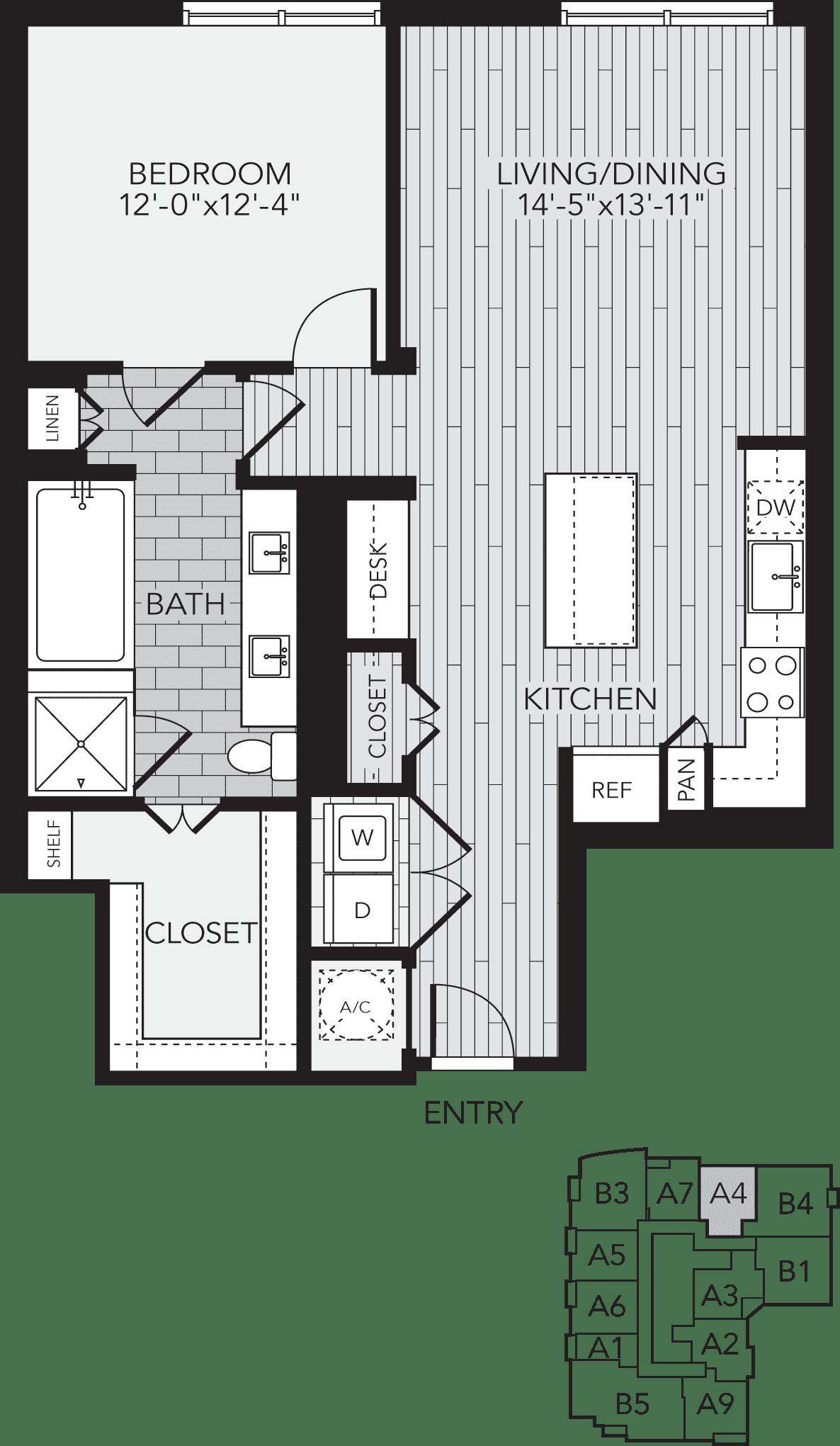 A4 Houston One Bedroom Apartment Floor Plan