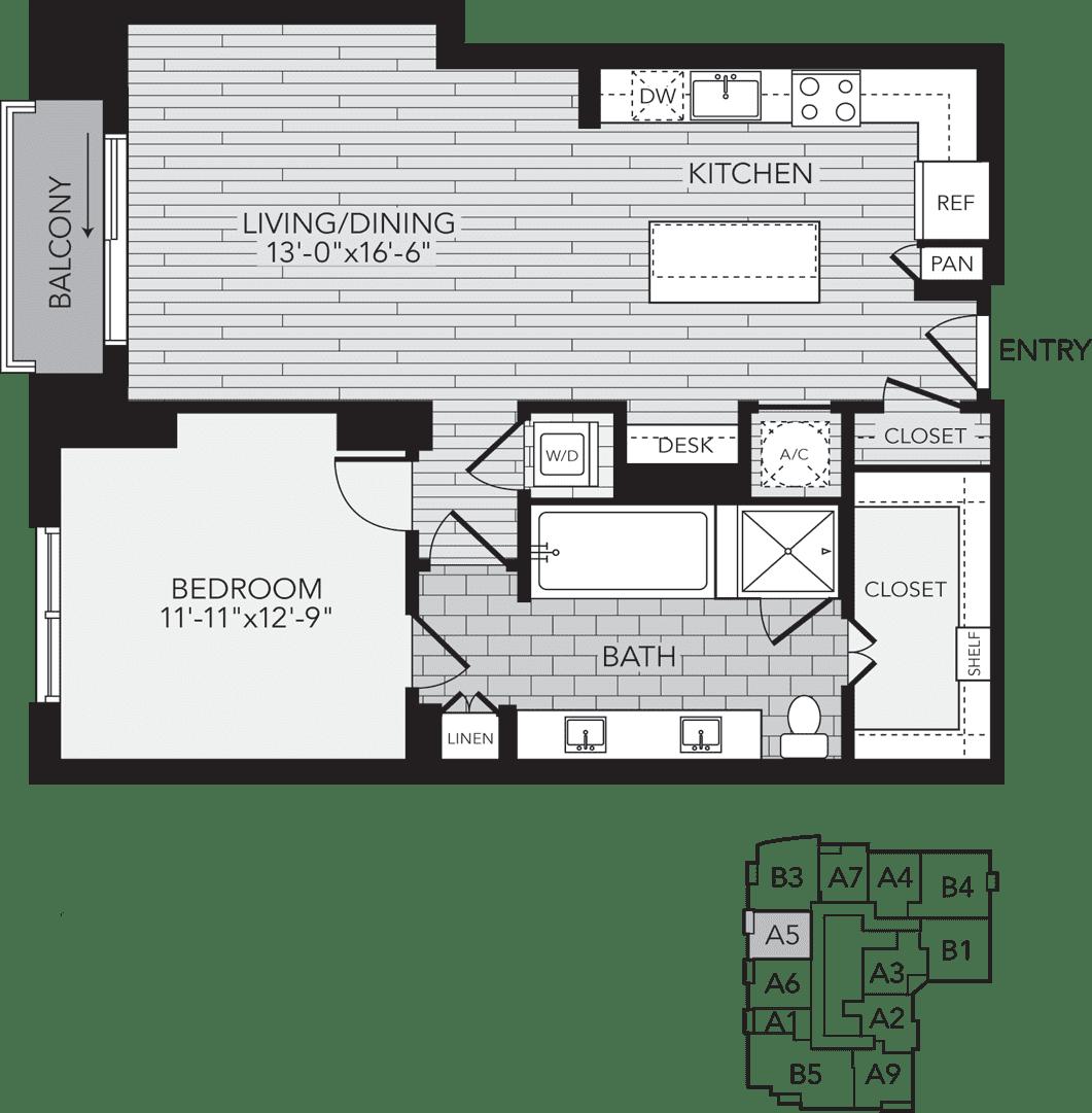 A5 Houston One Bedroom Apartment Floor Plan