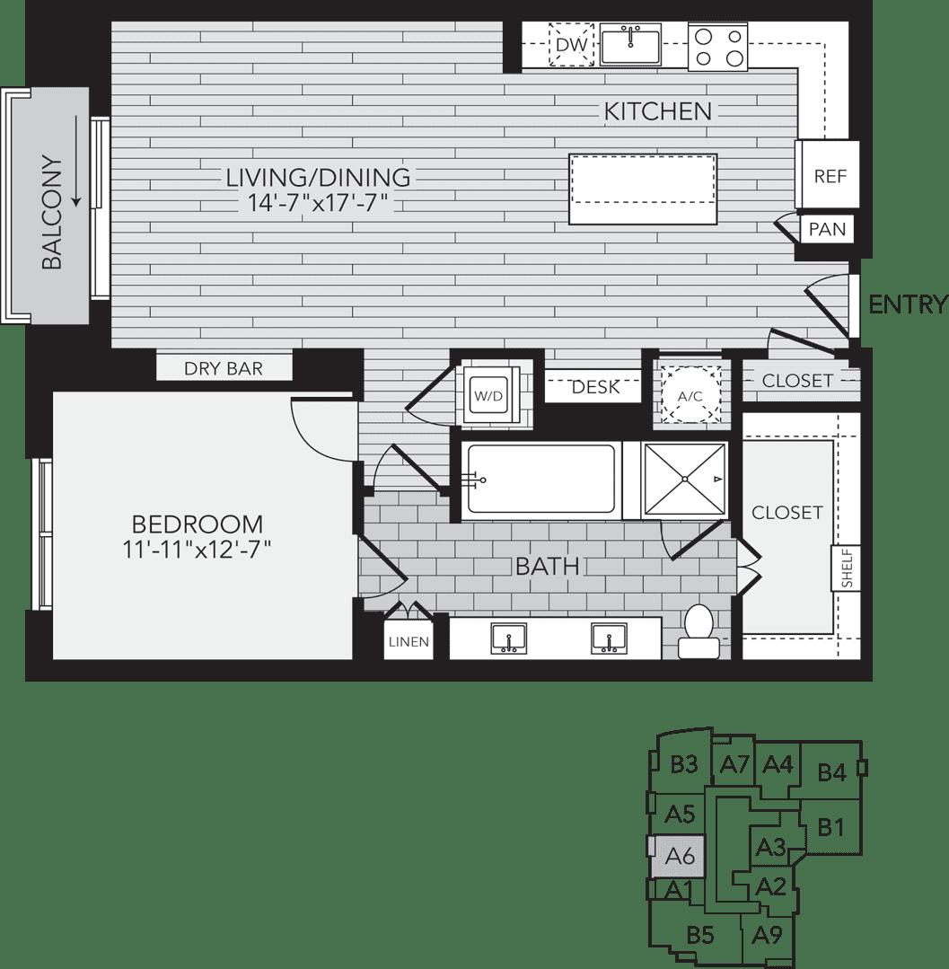A6 Houston One Bedroom Apartment Floor Plan