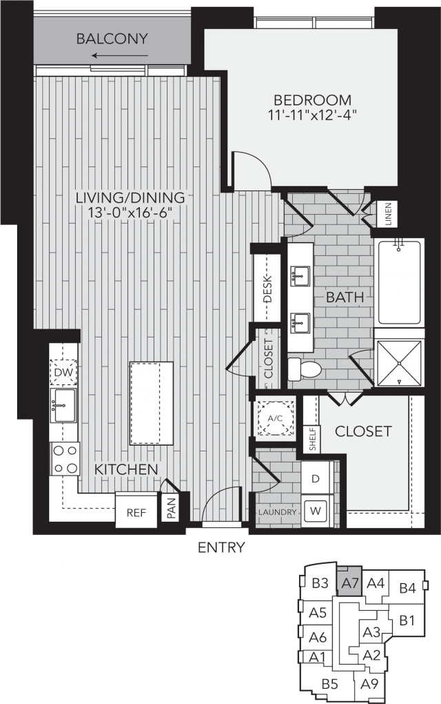 A7 Houston One Bedroom Apartment Floor Plan