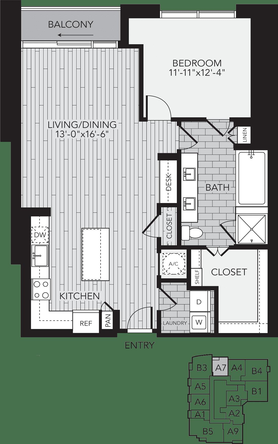 A7 Houston One Bedroom Apartment Floor Plan