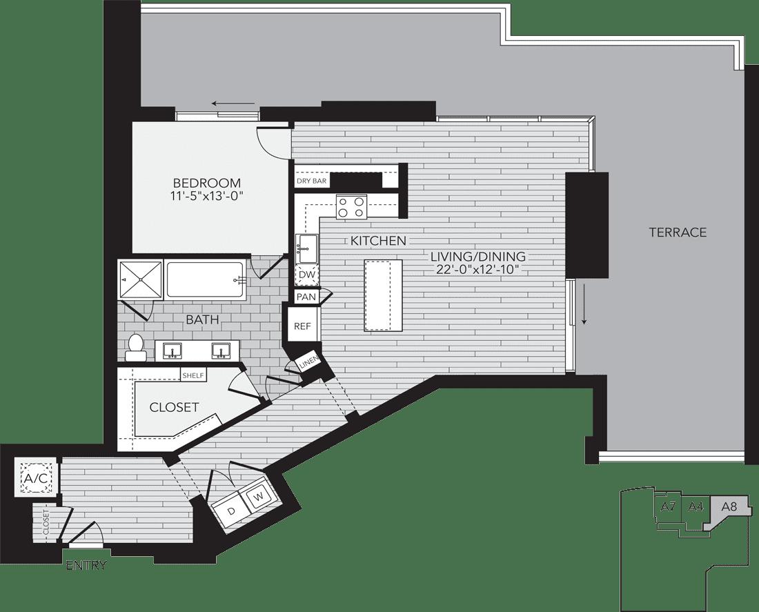 A8 Houston One Bedroom Apartment Floor Plan