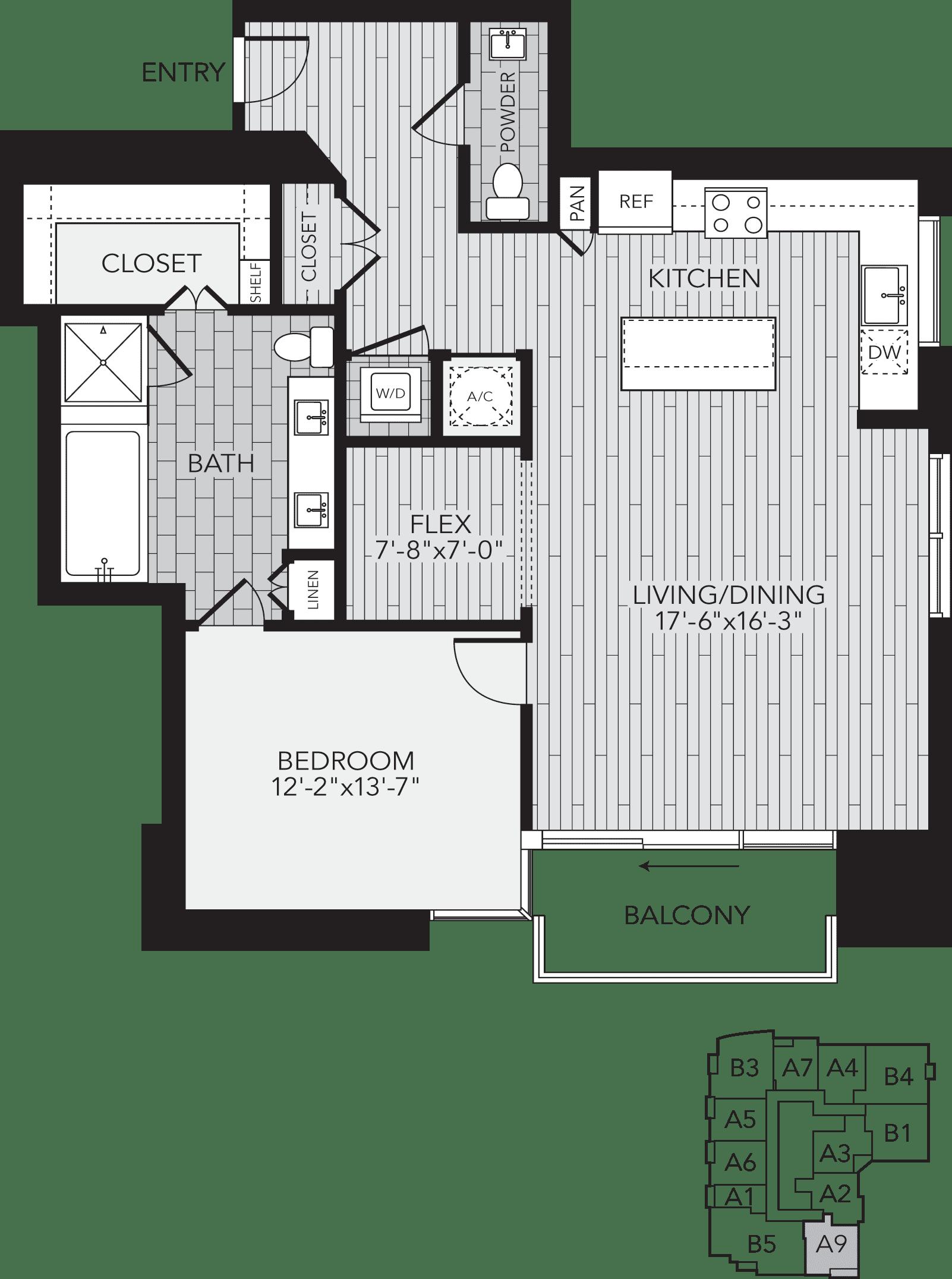 A9 Houston One Bedroom Apartment Floor Plan
