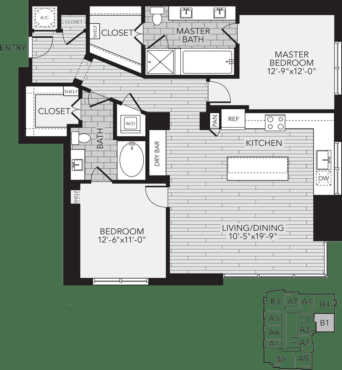 B1 Houston Two Bedroom Apartment Floor Plan