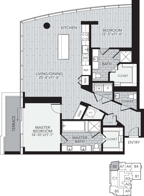 B2 Houston Two Bedroom Apartment Floor Plan