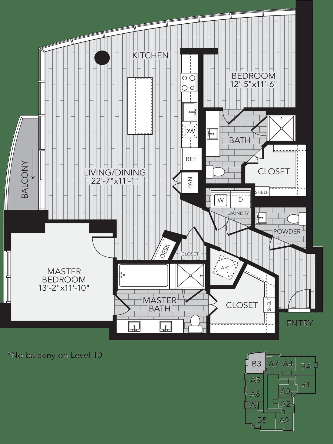B3 Houston Two Bedroom Apartment Floor Plan