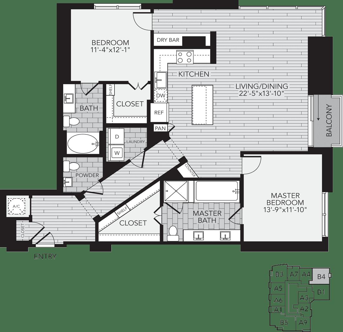 B4 Houston Two Bedroom Apartment Floor Plan