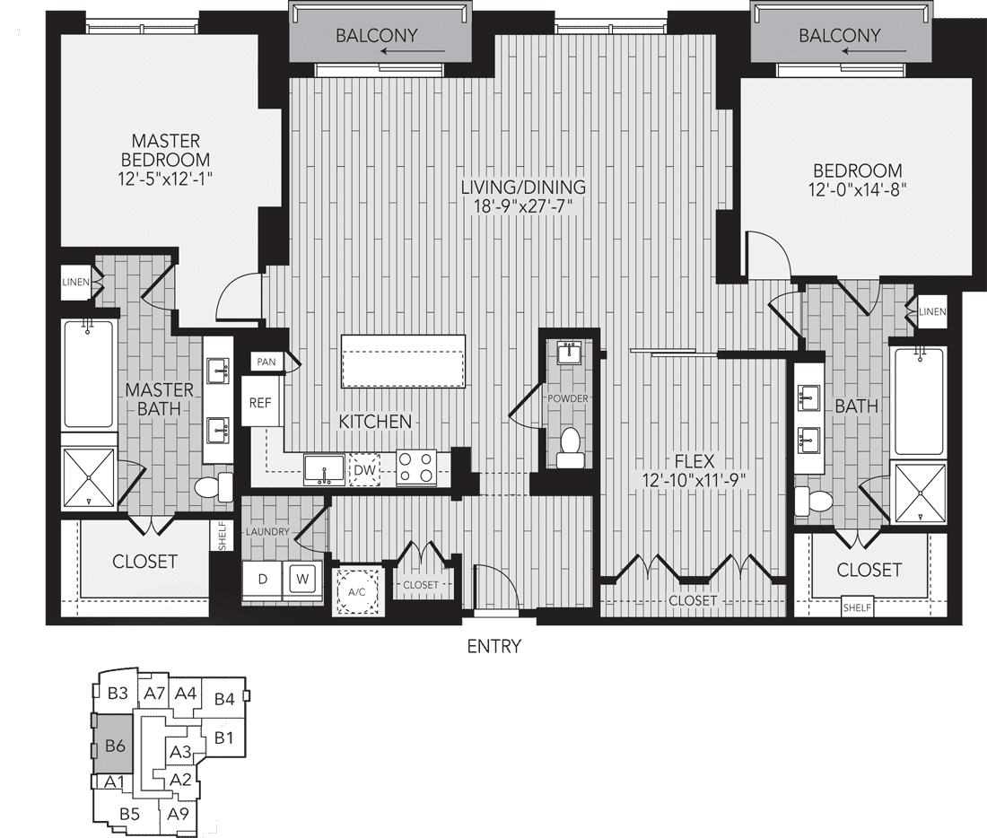B6 Houston Two Bedroom Apartment Floor Plan