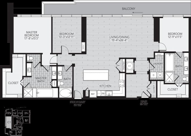 C1 Houston Three Bedroom Apartment Floor Plan